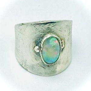 Welo opal sterling silver band hand made 925 ring